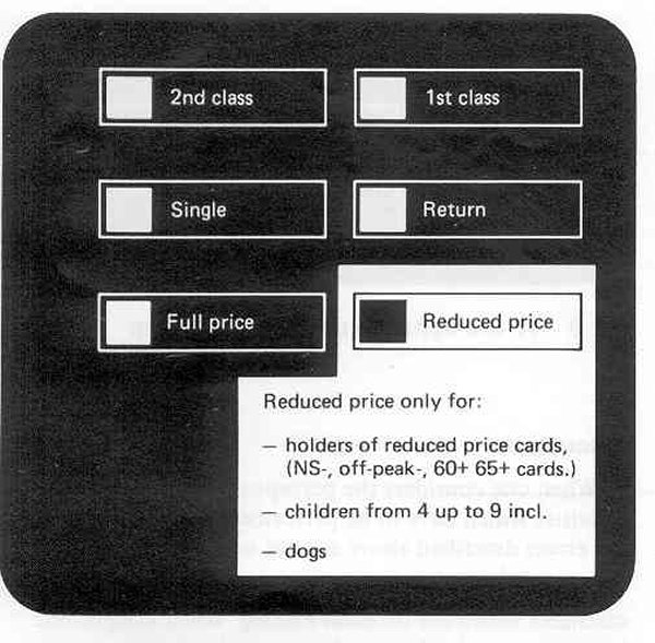 Three buttons: one for class, one or yest/no reduced price, one for single/return.