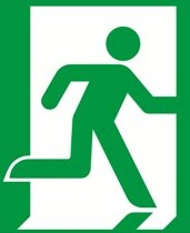 green emergency exit sign safety psychology