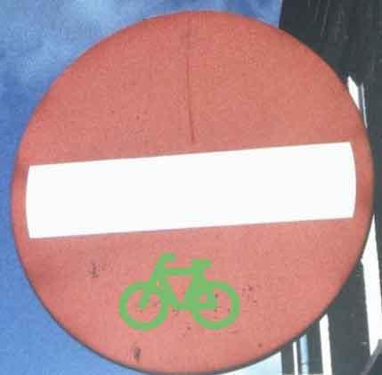 verboden in te rijden uitgezonderd fietsers